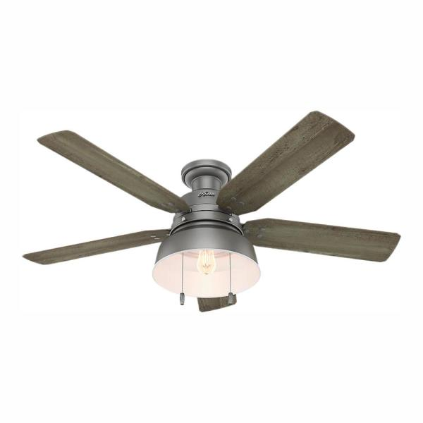 Mill Valley 52 in. LED Indoor/Outdoor Low Profile Matte Silver Ceiling Fan with Light