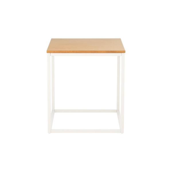 Donnelly Square White Metal End Table with Natural Wood Finish Top (20 in. W x 22 in. H)
