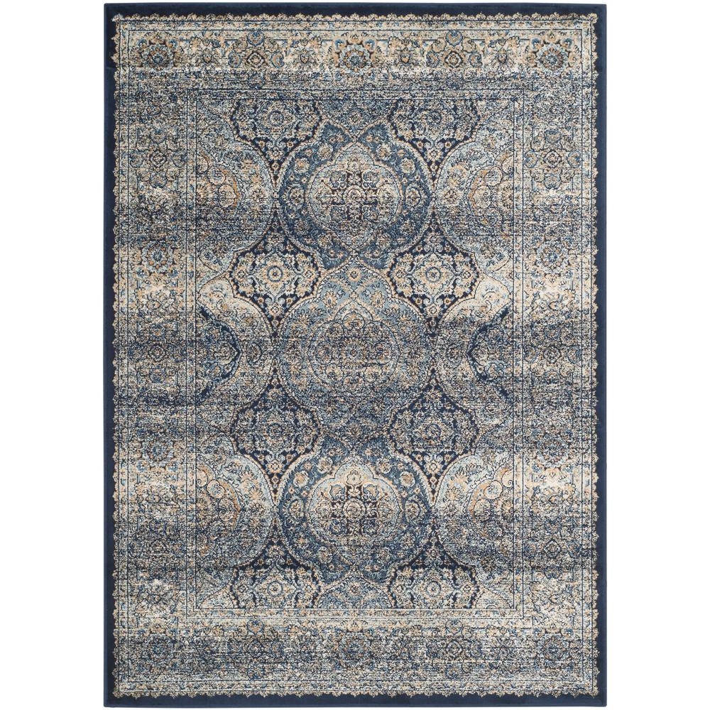 safavieh persian garden vintage navy ivory 4 ft x 5 ft 7 in area rug pgv611b 4 the home depot. Black Bedroom Furniture Sets. Home Design Ideas