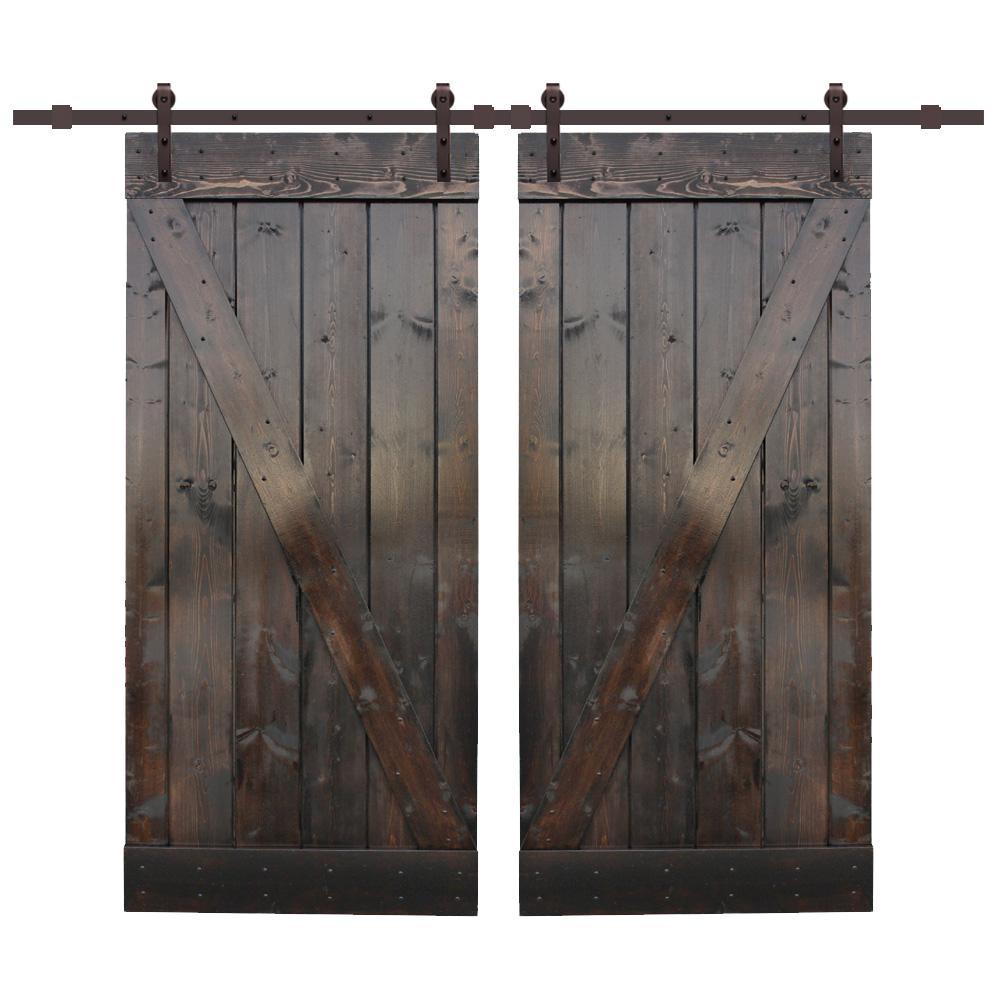 Bi Parting 42 X 84 Barn Doors Interior Closet Doors The Home Depot