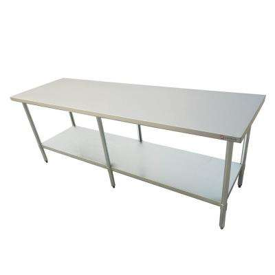 96 in x 24 in x 34 in Stainless Steel Kitchen Utility Table Surface