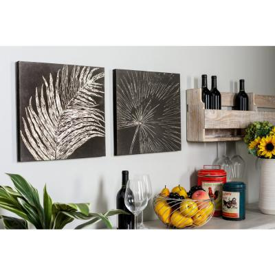 """16 in. x 16 in. """"Sketched Leaves"""" Painted Framed Canvas Wall Art (Set of 2)"""
