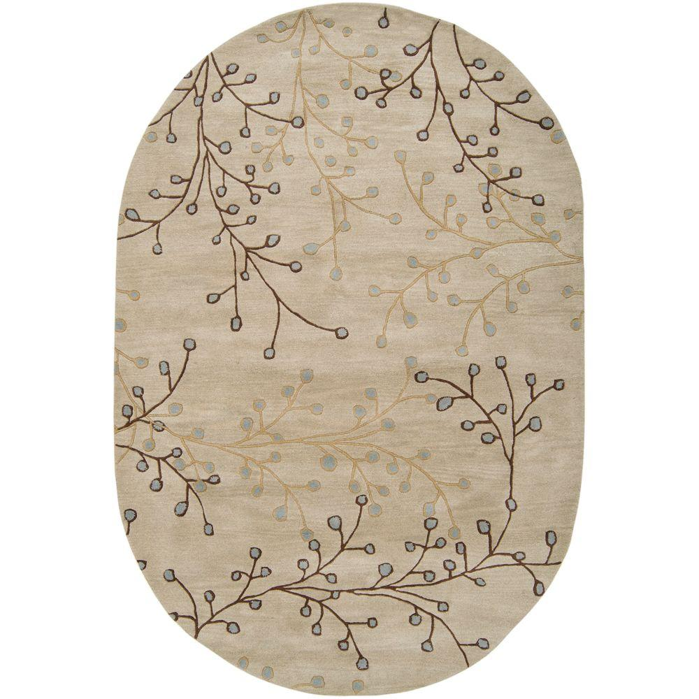 Bari Ivory 6 ft. x 9 ft. Oval Area Rug