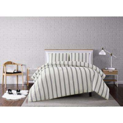 Millenial Stripe Ivory and Black Full/Queen 3-Piece Comforter Set