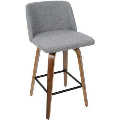 Toriano 26 in. Walnut Wood and Grey Fabric Counter Stool