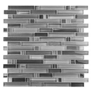 Handicraft II Calligraphy Gray Linear Mosaic 12 in. x 12 in. Glossy Glass Wall and Pool Tile (1 Sq. ft.)