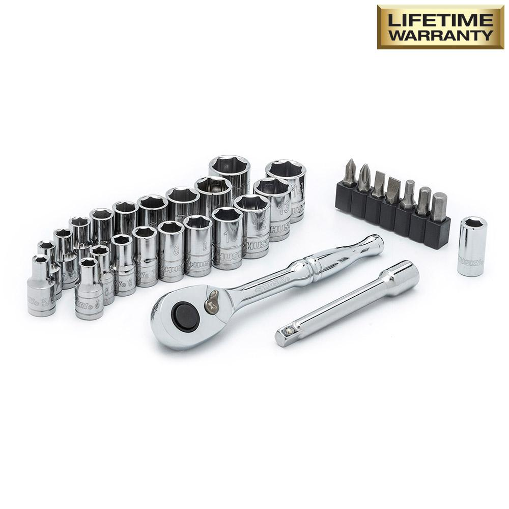1/4 in. Drive SAE and Metric Socket Set (30-Piece)