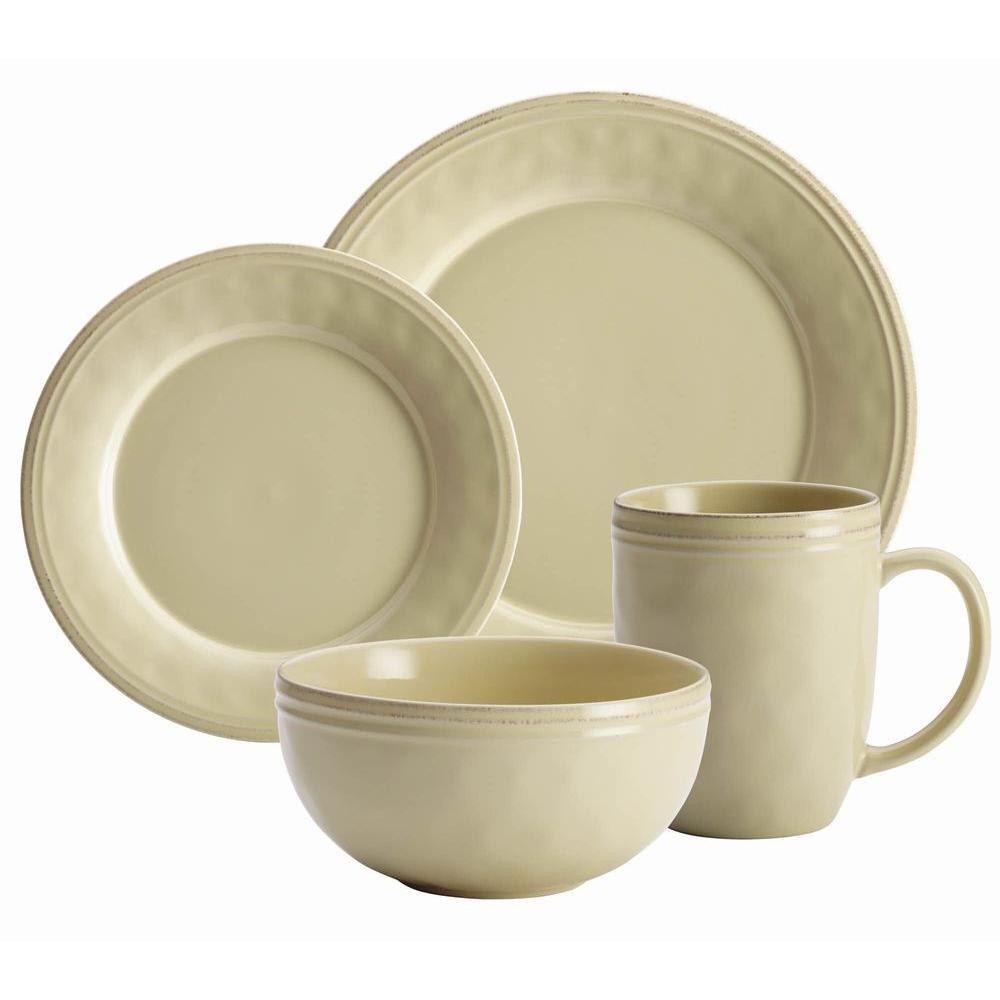 Cucina Dinnerware 16-Piece Stoneware Dinnerware Set in Almond Cream