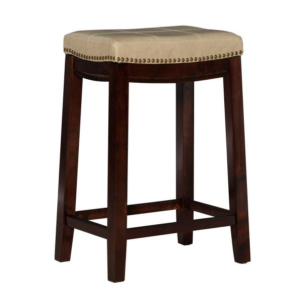 Linon Home Decor Claridge 26 In Beige Cushioned Counter Stool 55815jute01u The Home Depot