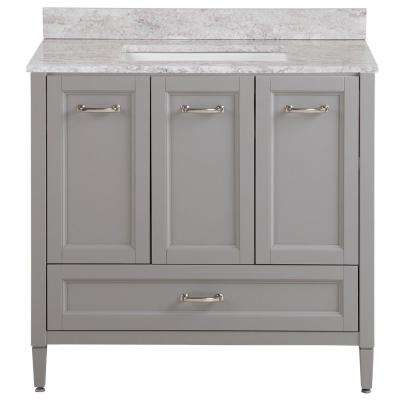 Claxby 37 in. W x 22 in. D Bath Vanity in Sterling Gray with Stone Effect Vanity Top in Winter Mist with White Sink