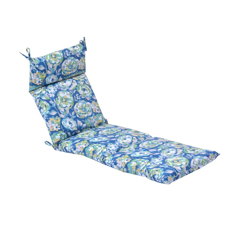 Hampton Bay Surplus Floral Outdoor Chaise Lounge Cushion 7227 01524200 The Home Depot