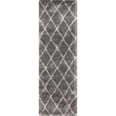 Diamond Shag Ash 3 ft. x 8 ft. Runner Rug