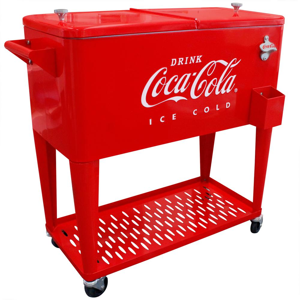 80 Qt Embossed Metal Coca-Cola Cooler with Tray