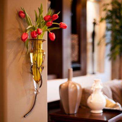 22 in. Glass Wall Mount Decorative Amphora Vase on Twig Metal Sconce in Amber Glass