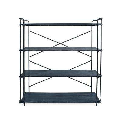 Yorktown Brushed Dark Gray 4-Tier Fir Wood Shelf with Pewter Iron Frame