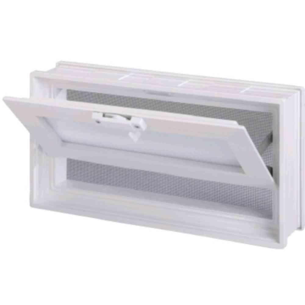 7-3/4 in. x 15-3/4 in. Glass Block Universal Hopper Vent in White