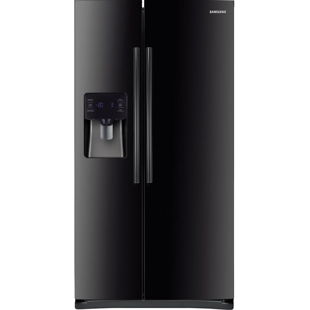samsung 24 5 cu ft side by side refrigerator in black rs25h5111bc the home depot. Black Bedroom Furniture Sets. Home Design Ideas