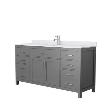 Beckett 66 in. W x 22 in. D Single Vanity in Dark Gray with Cultured Marble Vanity Top in White with White Basin