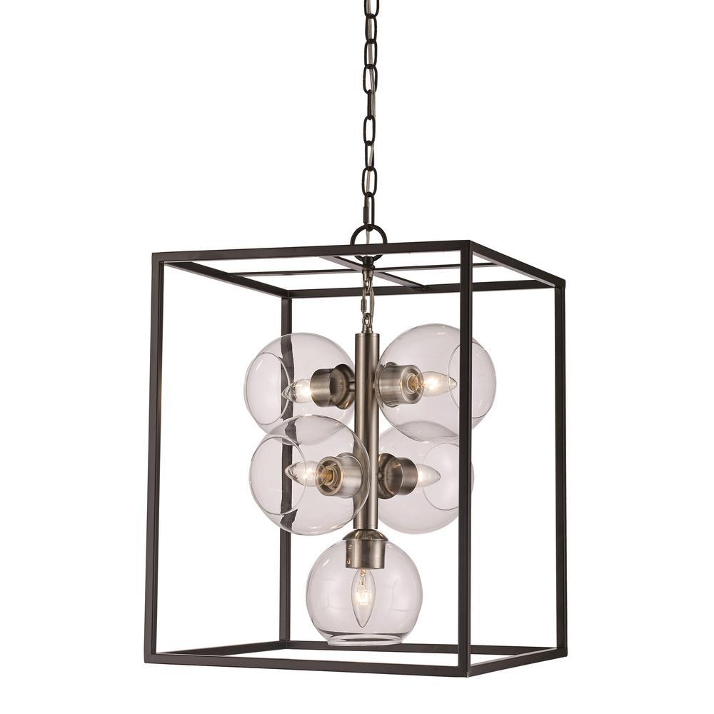 Bel Air Lighting 5-Light Black/Brushed Nickel Pendant
