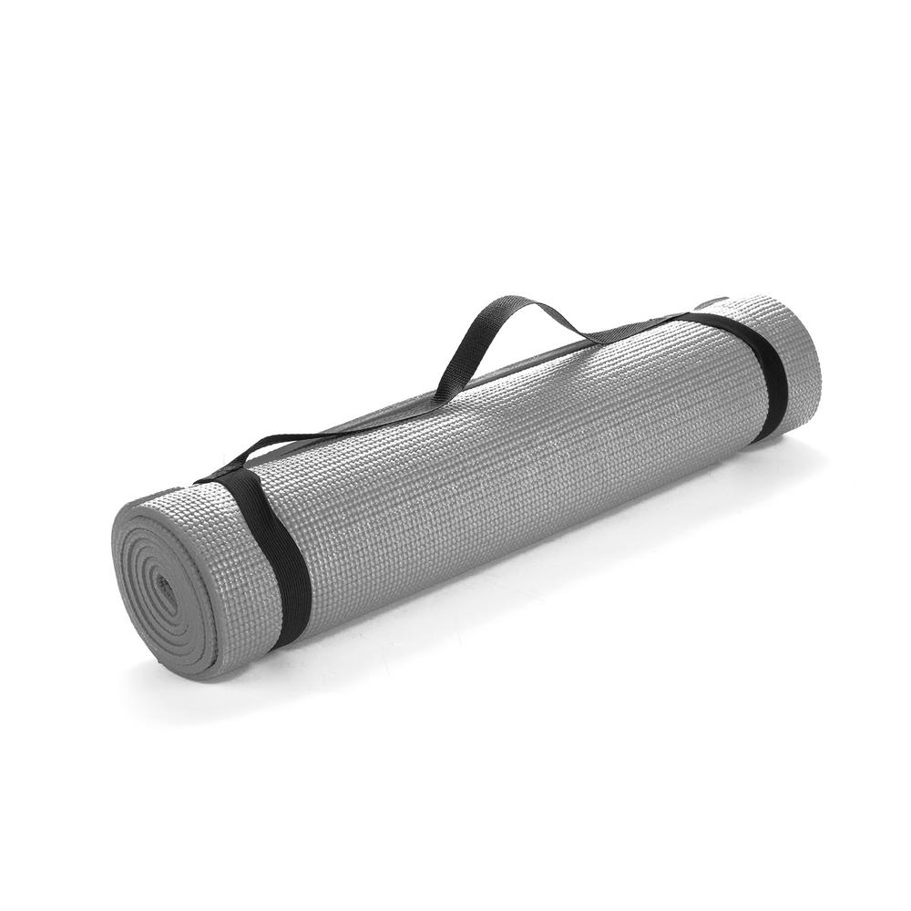 Mind Reader All Purpose Extra Thick Grey Fitness Exercise 24 In X 68 In Yoga Mat With Carrying Strap Yogapvc Gry The Home Depot