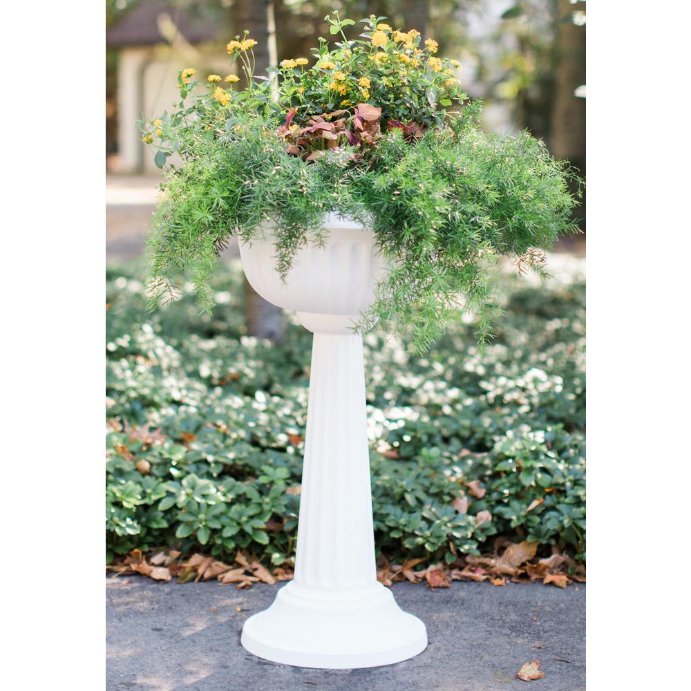 18 x 32 Black Grecian Plastic Urn Pedestal Planter