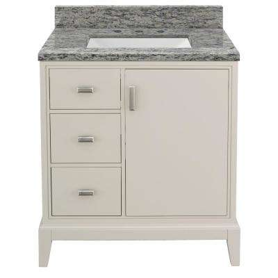Shaelyn 31 in. W x 22 in. D Bath Vanity in Rainy Day LH with Granite Vanity Top in Santa Cecilia with White Sink