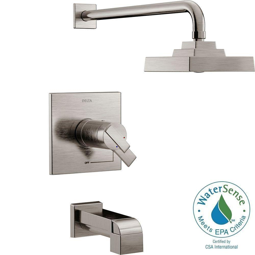 Delta Ara TempAssure 17T Series 1-Handle Tub and Shower Faucet Trim Kit Only in Stainless (Valve Not Included)