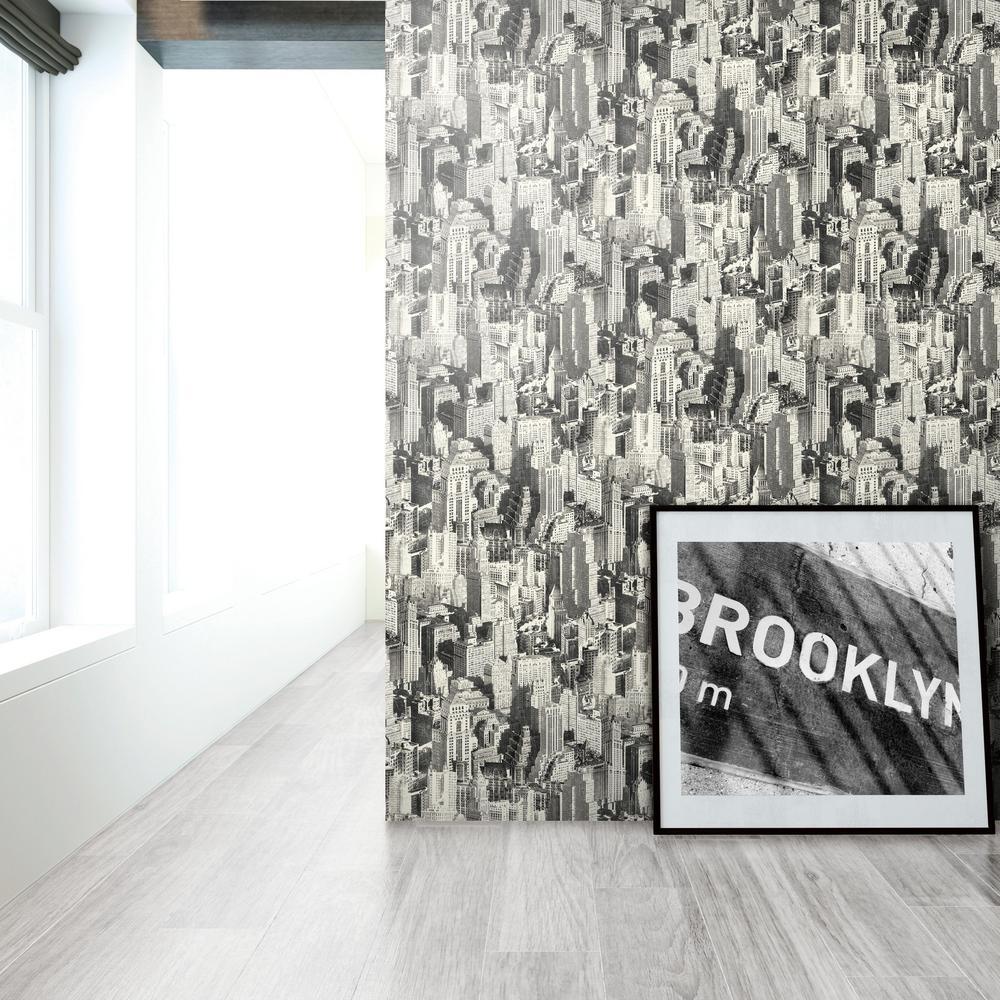 28.18 sq. ft. Black New York City Peel and Stick Wallpaper