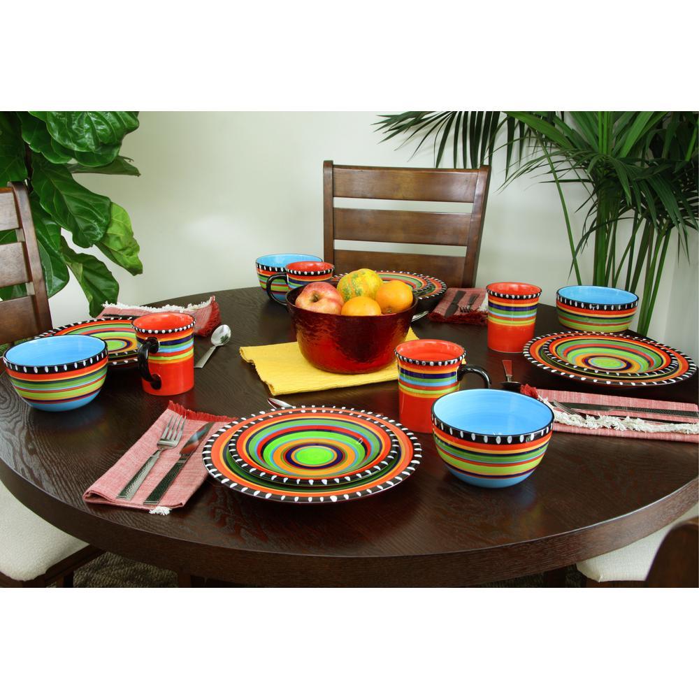 Pueblo Springs16-Piece Patterned Multicolor Earthenware Dinnerware Set (Service for 4)
