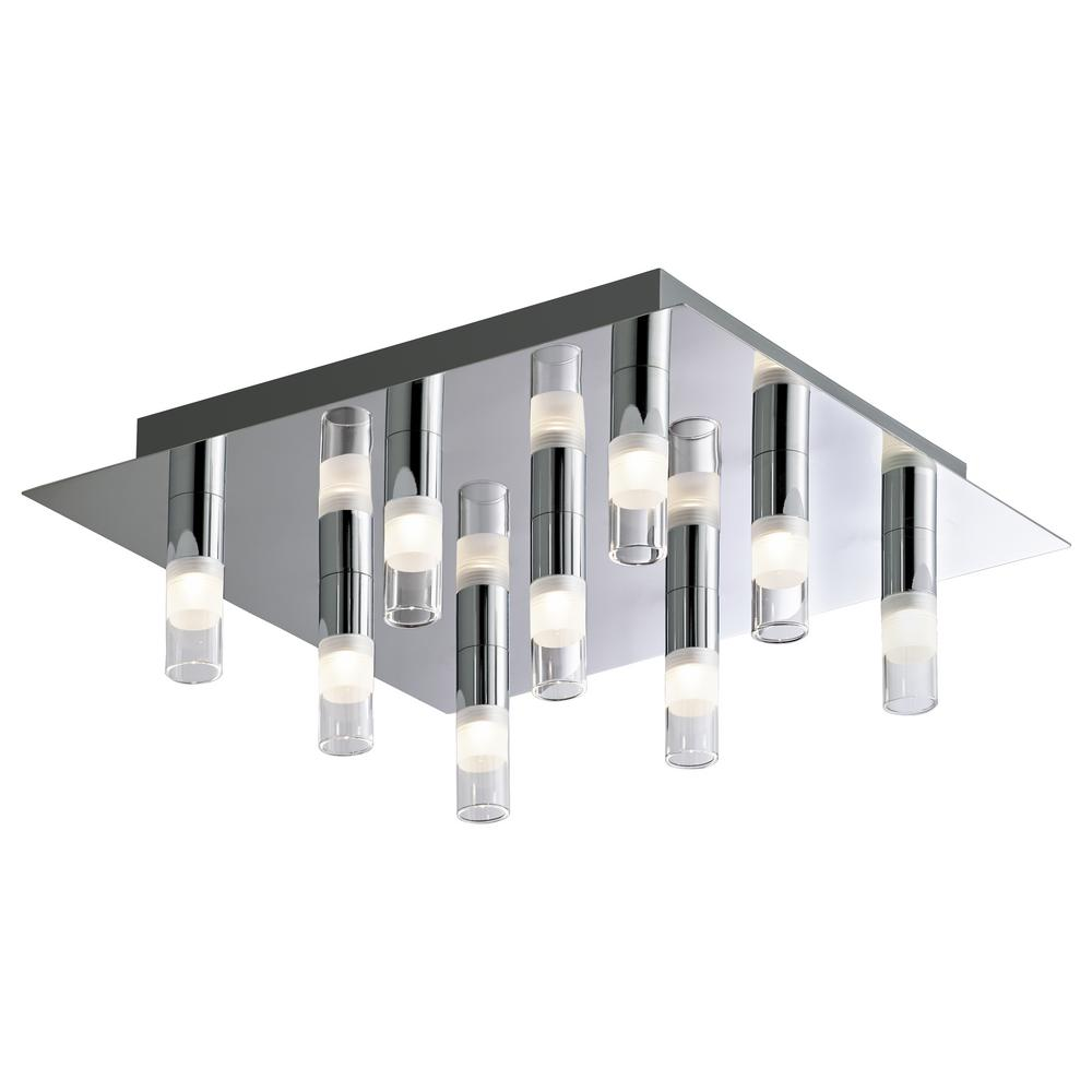 BAZZ 9-Light Chrome Square LED Ceiling Fixture