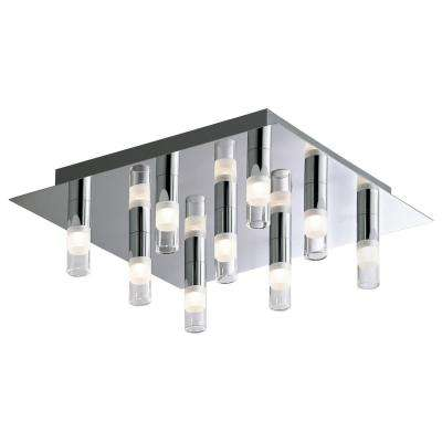 9-Light Chrome Square LED Ceiling Fixture