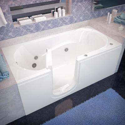 HD Series 60 in. Left Drain Step-In Walk-In Whirlpool Bath Tub with Low Entry Threshold in White