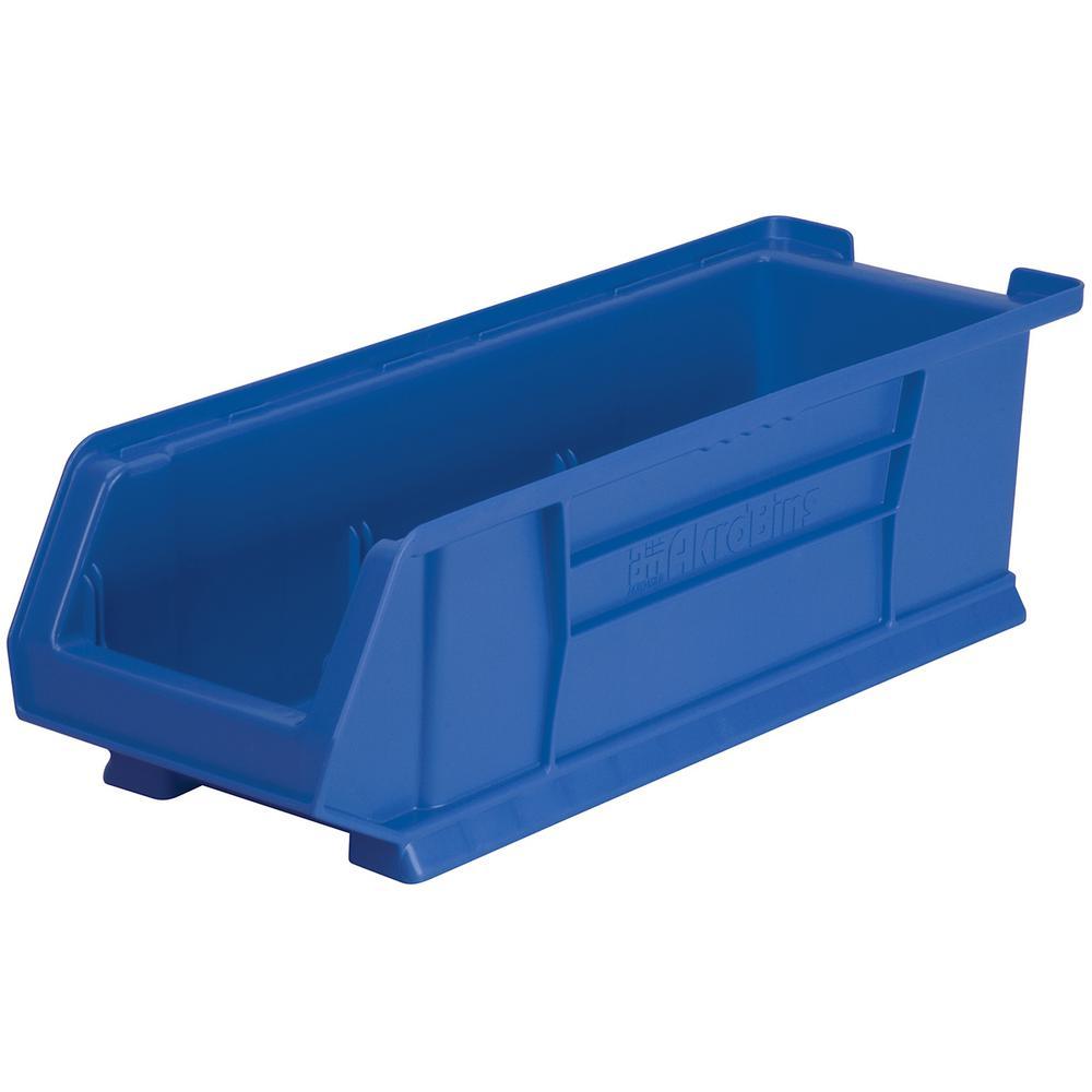 Super-Size AkroBin 8.2 in. 200 lbs. Storage Tote Bin in Blue with 3.5 Gal. Storage Capacity