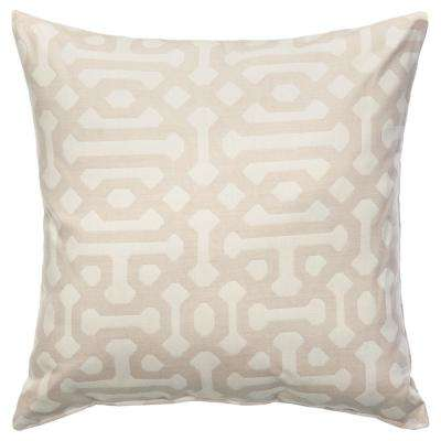Fretwork Flax Sunbrella Square Decorative Outdoor Throw Pillow