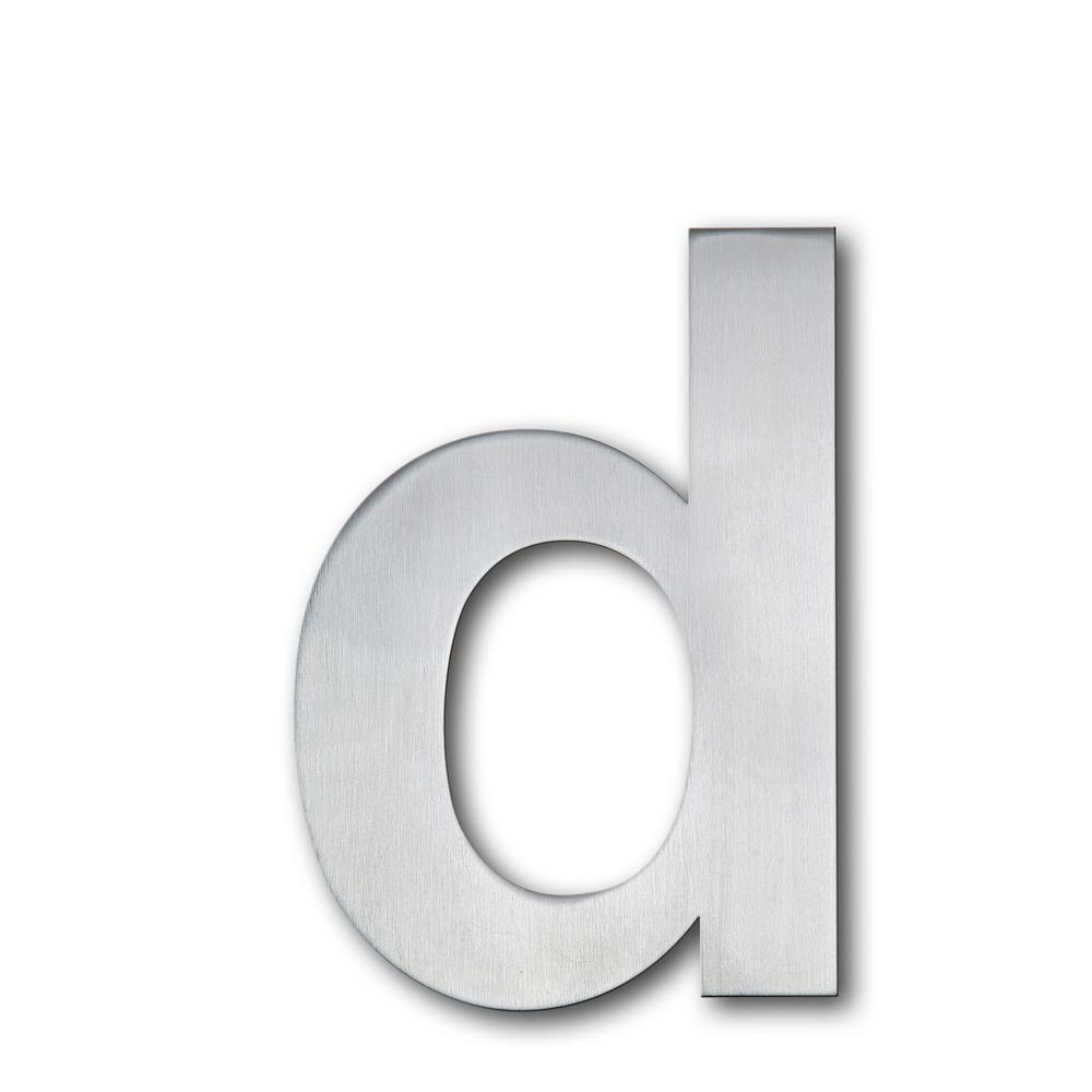 Brushed stainless steel floating modern house letter d