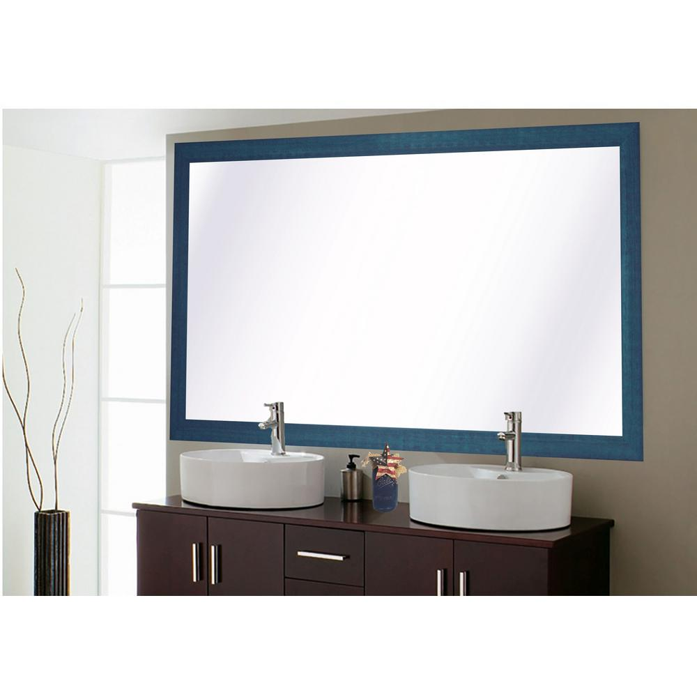 78 in. x 39 in. Country Cottage Blue Framed Double Vanity Mirror ...