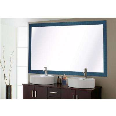 78 in. x 39 in. Country Cottage Blue Framed Double Vanity Mirror