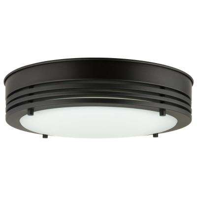 Solid Band 100-Watt Oil Rubbed Bronze Integrated LED Ceiling Flush Mount