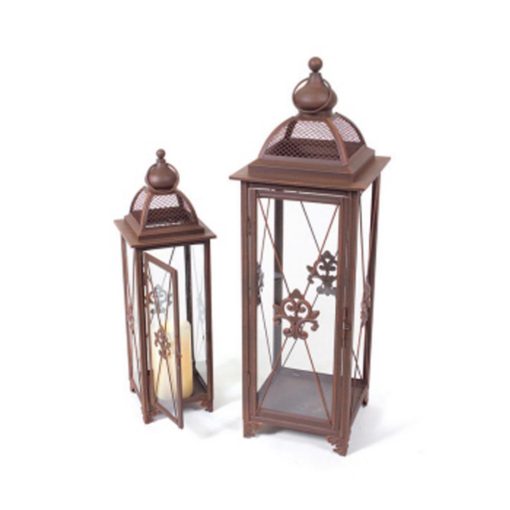Rust Fleur in. to De-Lis Fanciful Pillar Candle Holder Lanterns (Set of 2)