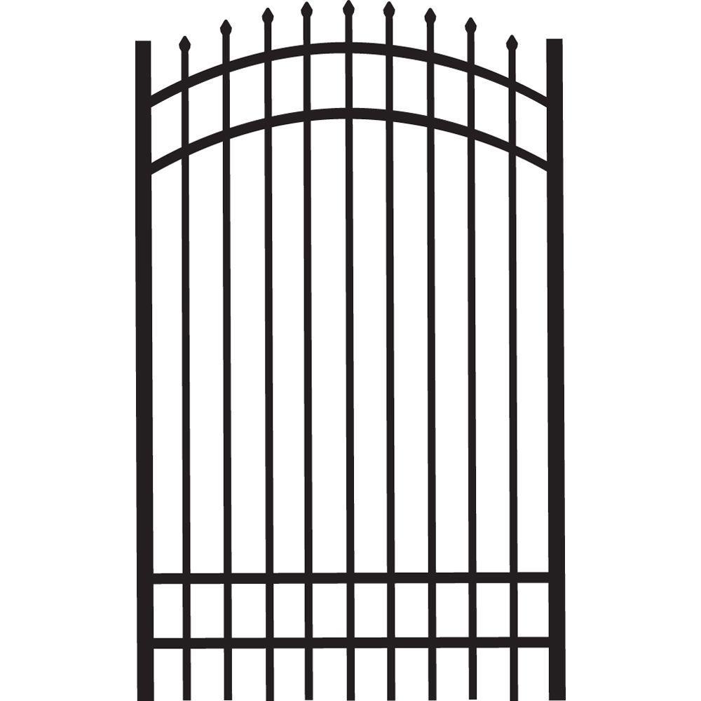 Cascade Standard-Duty 4 ft. W x 6 ft. H Black Aluminum Arched Pre-Assembled Fence Gate