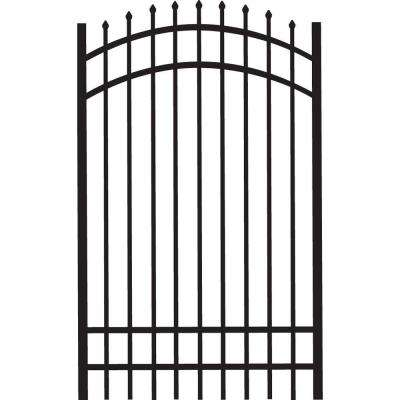 Cascade Standard-Duty 4 ft. W x 6 ft. H Black Aluminum Arched Pre-Assembled Fence Gate