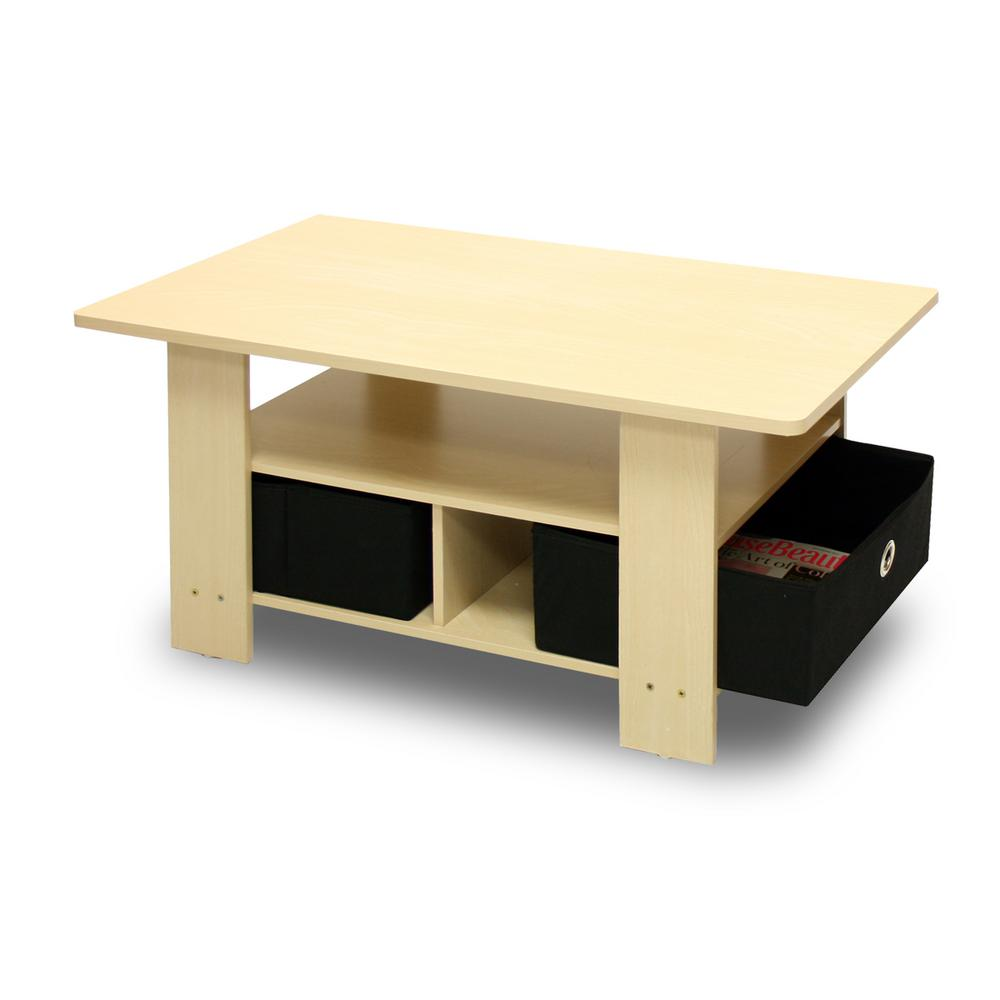 Home Living Steam Beech and Black Built-In Storage Coffee Table
