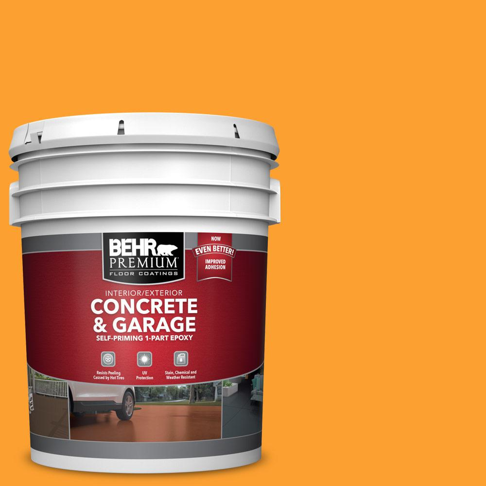 BEHR PREMIUM 5 gal. #P250-7 Blazing Bonfire Self-Priming 1-Part Epoxy Satin Interior/Exterior Concrete and Garage Floor Paint