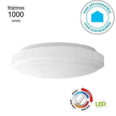 12 in. Round White 14 Watt Equivalent Integrated LED Flushmount with Color Temperature Tunable Feature (2700K to 5000K)