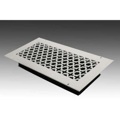 14 in. x 6 in. White Poweder Coat Steel Wall Ceiling Vent with Opposed Blade Damper