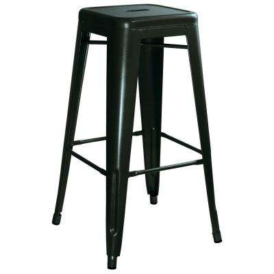 Loft Style 30 in. Stackable Metal Bar Stool in Black (Set of 4)
