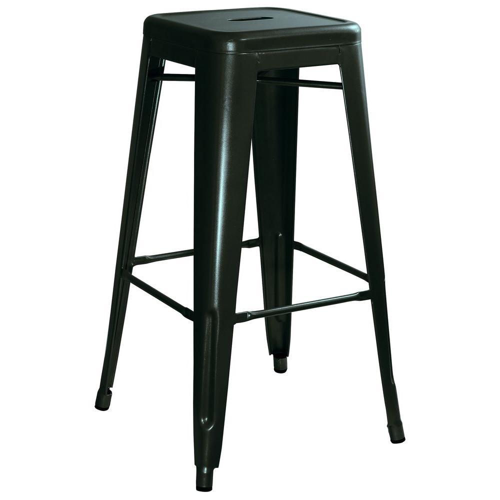 AmeriHome Loft Style 30 in. Stackable Metal Bar Stool in Black