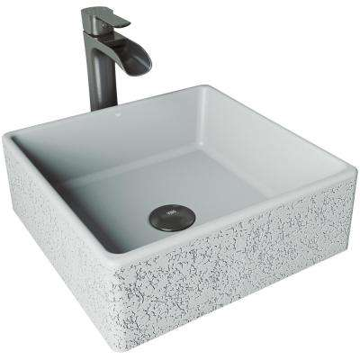 Aster Concrete Vessel Sink in Ash with Faucet in Graphite Black