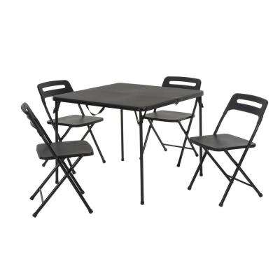 5-Piece Black Outdoor Safe Fold-in-Half Folding Card Table Set