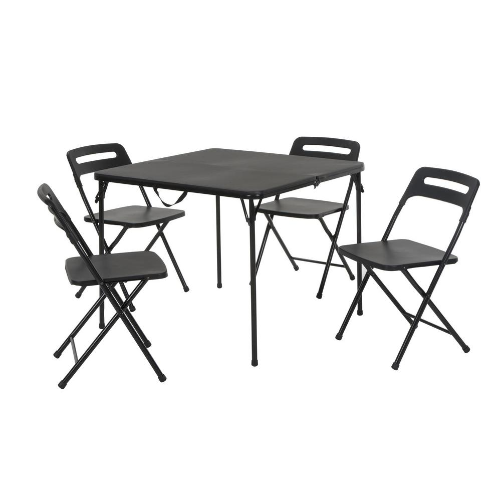 5 Piece Black Indoor Outdoor Tailgate Set With Center Fold Table And 4 Chairs